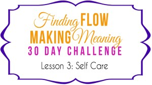 Self Care Emergency! Lesson 3 of the Finding Flow & Making Meaning Challenge