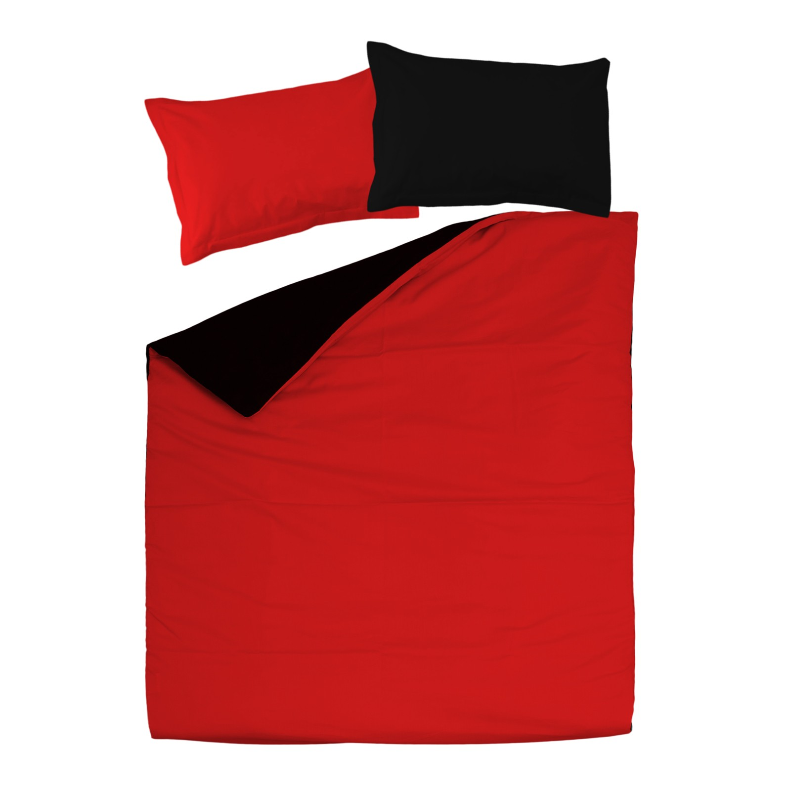 Double Bed Fitted Sheet Black Red 100 Cotton Reversible Bed Linen Set Duvet Cover