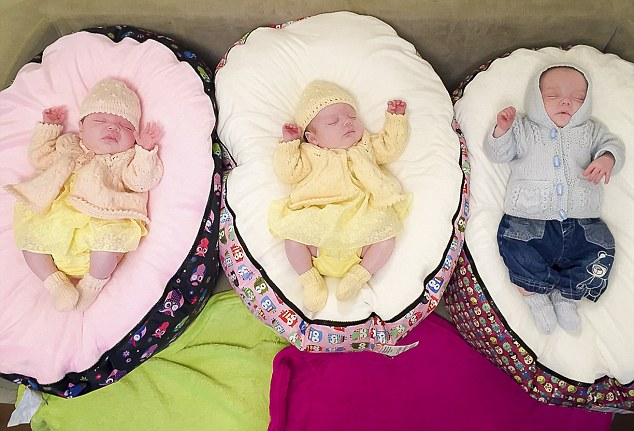 Becky Johns' triplets , Raya  and Phoebe and Ryan