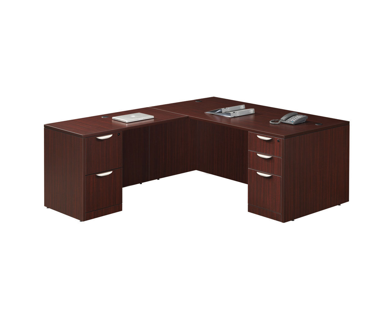 Desk Return Classic Computer Desk Package With Return And Two Pedestal