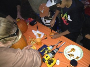 It was getting dark by the time we really got into carving the pumpkins, but we still had lots of fun!