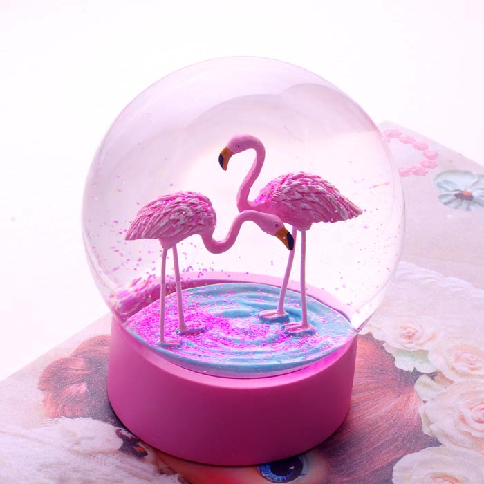 Glass Dome With Base Flamingo Snow Globe By Talking Tables - Buy Online Now