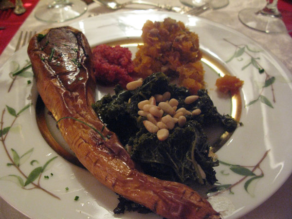 Parsnip steaks, kale with pine nuts, maple-roasted squash with chestnuts