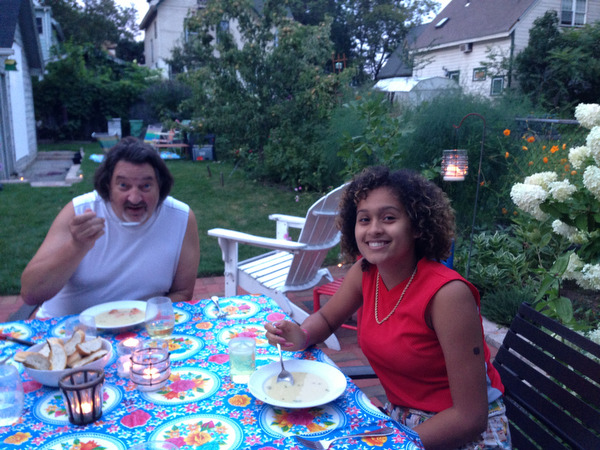 Saturday Night Supper on the Patio: Corn Soup and Spaghetti with Fresh Tomatoes