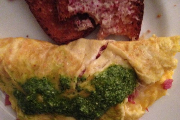 Leftover Easter Omelet: Ham with Arugula Pesto and Toast with Radish Butter