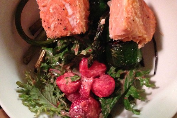 Supper on the Porch: Cedar Plank Salmon and Strawberry-Kale Salad