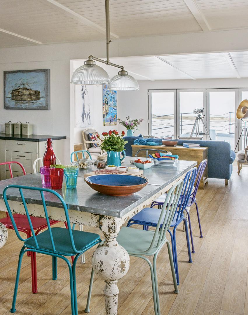impress these utterly stylish ideas for dining tables and chairs turquoise kitchen chairs Open plan Dining Room with Colourful Chairs