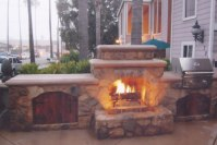 Fireplace with Waterfall - Custom Fireplace Design in ...