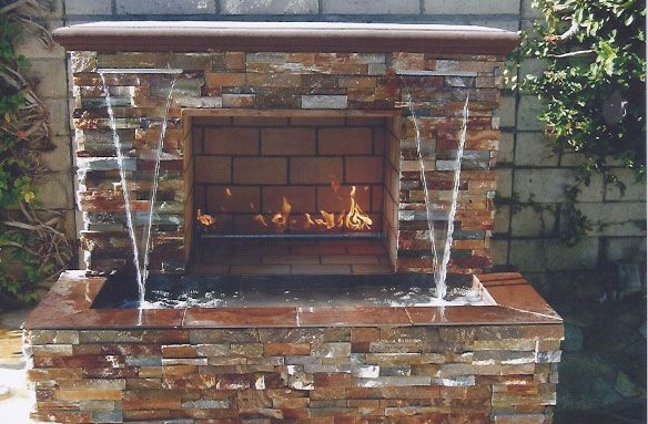 Tables By Design Fireplace With Waterfall | Southern Cal Fire