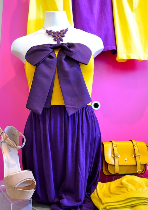 Purple and Gold Bow Dress Frock Candy