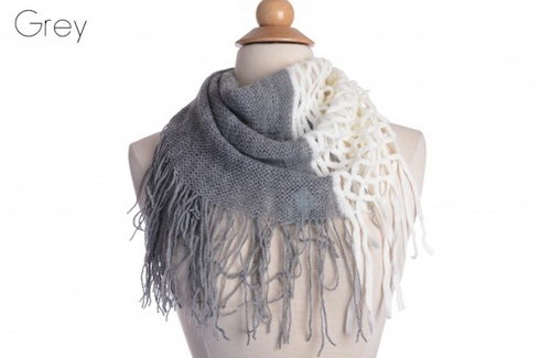 two toned fringe infinity scarf from Groopdealz