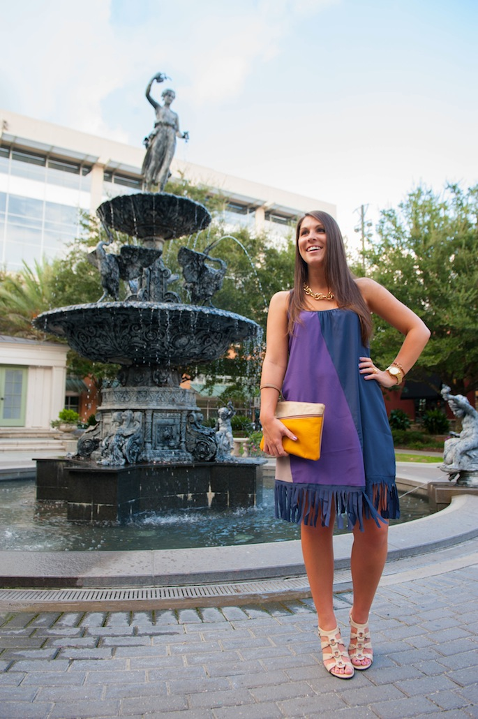 Purple Fringe Colorblock dress from Billie+Betty | Southern Flair