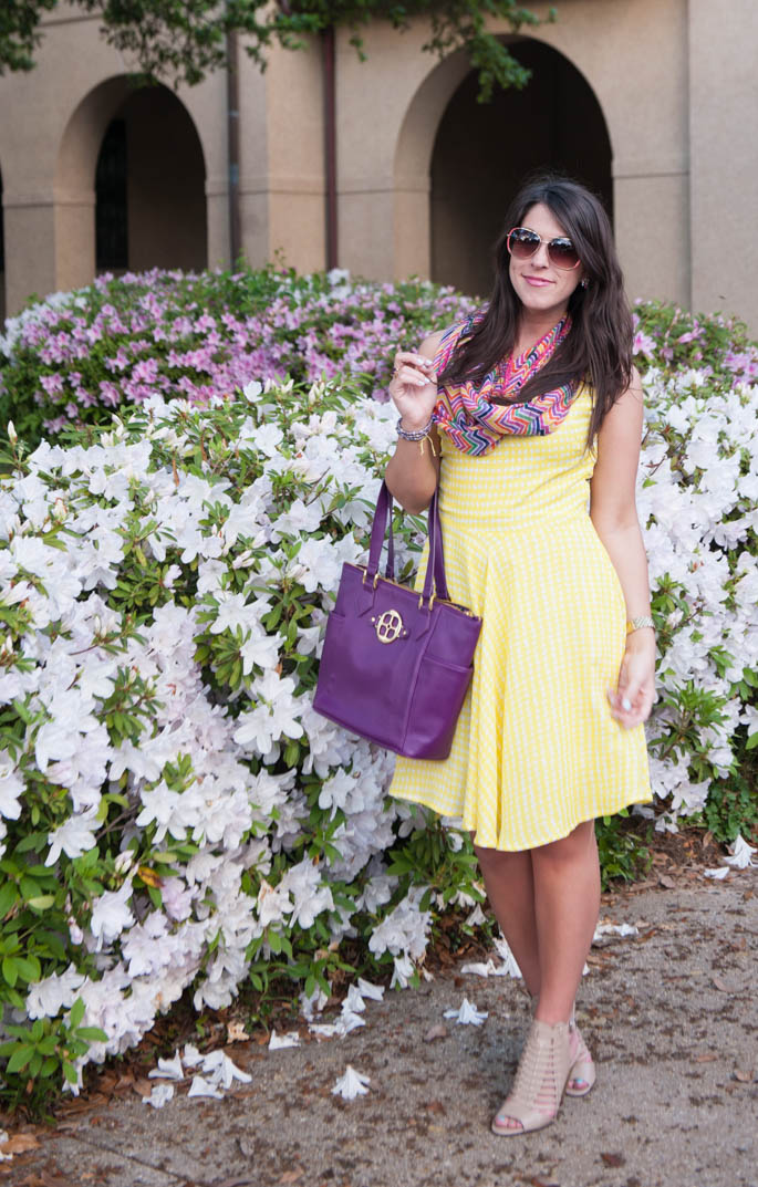 Yellow Spring Dress with Multicolored Scarf