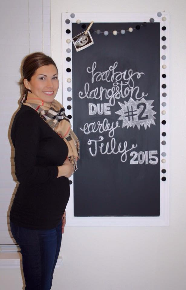 Langston Baby #2 Pregnancy Chalkboard - 14 weeks - Southern Made Blog