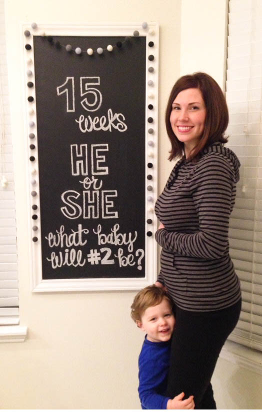 Langston Baby #2 Pregnancy Chalkboard - 15 weeks - Southern Made Blog