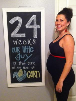 Baby Langston 24 weeks Pregnancy Chalkboard - Southern Made Blog
