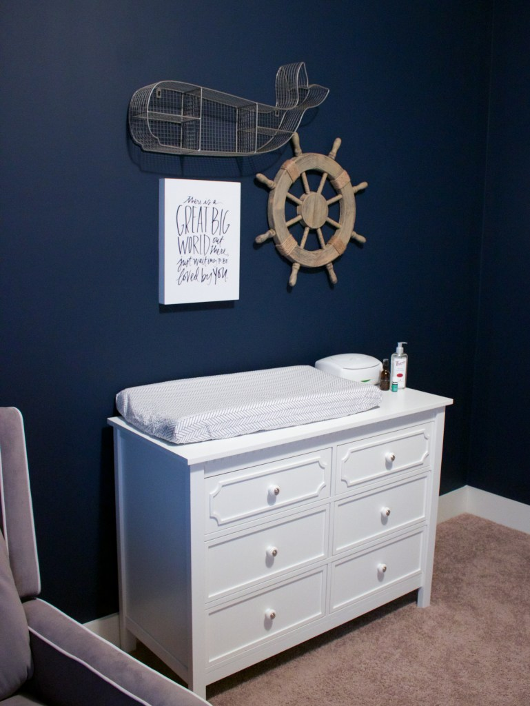 Nautical Nursery Reveal | Southern Made Blog | @baby_relax dresser and whale available at @Target | Changing pad cover via @carouseldesigns | Wall quote & wheel via @hobbylobby