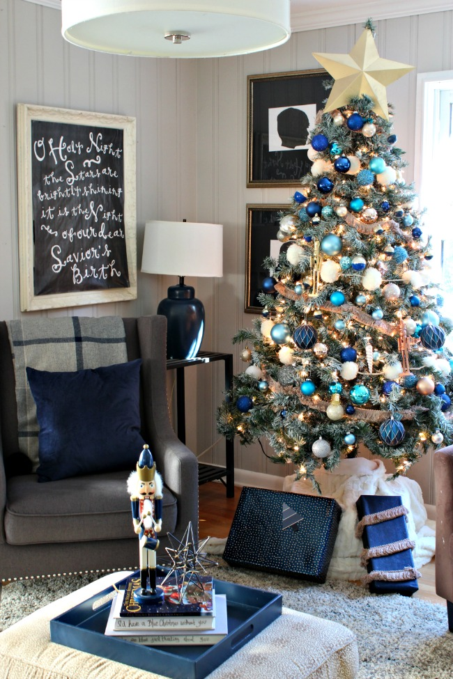 Decorations of Blue on White Christmas Tree - Southern State of Mind