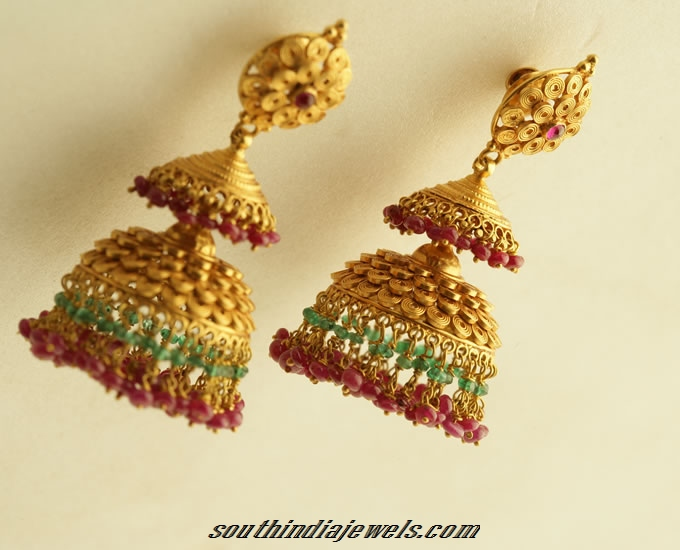 Antique Gold Jhumka Design South India Jewels