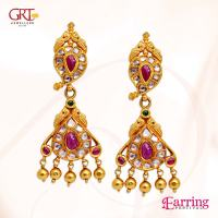 Gold Ruby Earrings from GRT ~ South India Jewels