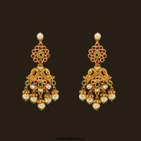 Gold Antique Peacock Earrings From VBJ ~ South India Jewels