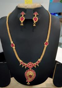 Imitation Ruby Long Chain Necklace with Earrings ~ South ...