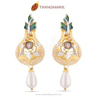 Gold Designer Earrings from Thangamayil Jewellery ~ South