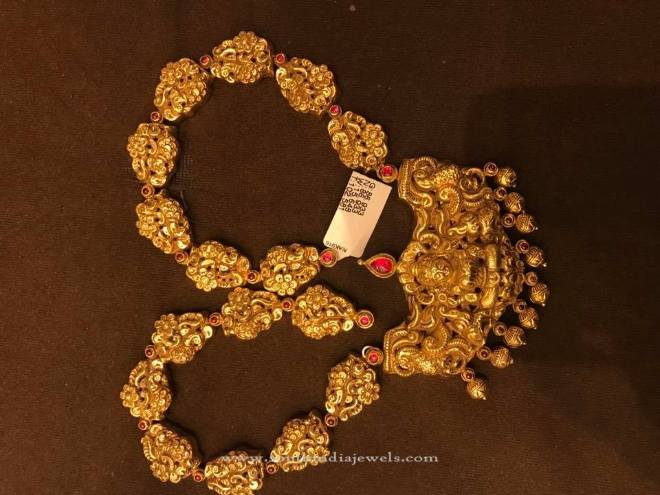 Gold Long Antique Temple Necklace South India Jewels
