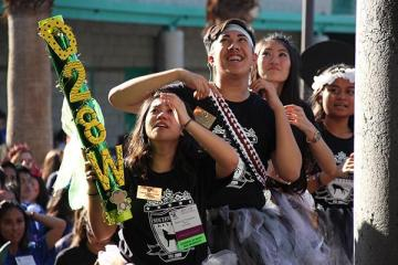 "Seniors Kiana Tangonan, Greg Cruz, Kimberly Yiv, and Cailin Lopez celebrate their victory. Southwest Key Club had won the D28W spirit stick at the Regional Training Conference (RTC). ""Insert Quote Here"". Photo Credit: Emily Yu"