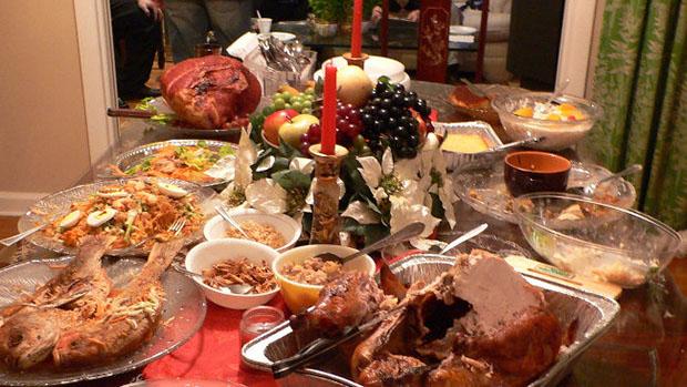 mesa comida en Navidad