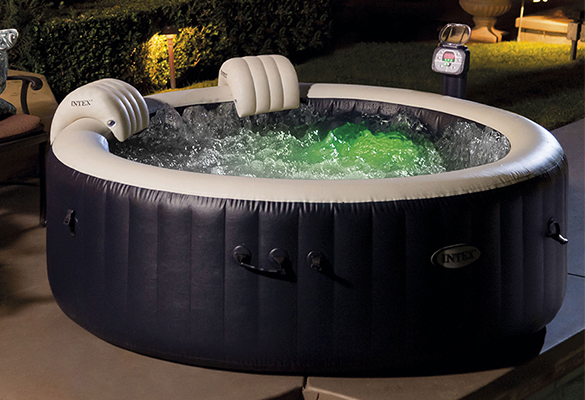 Jacuzzi Extérieur Gonflable 4 Places Spa Gonflable Intex 4 Places Rond à Bulles+ Led
