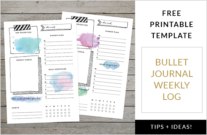 Organise Your Week With A Bullet Journal Weekly Log Free Template