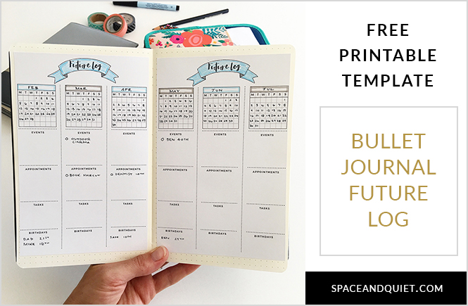 Bullet Journal Future Log Template and Someday Log