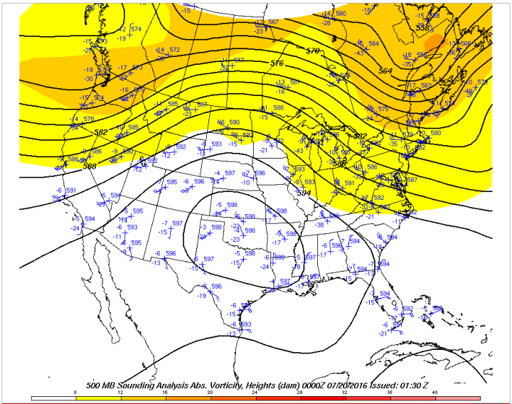 Upper air analysis map from last evening shows a more amplified ridge and slightly warmer temperatures aloft, meaning support for storms has diminished some. (Ohio State)