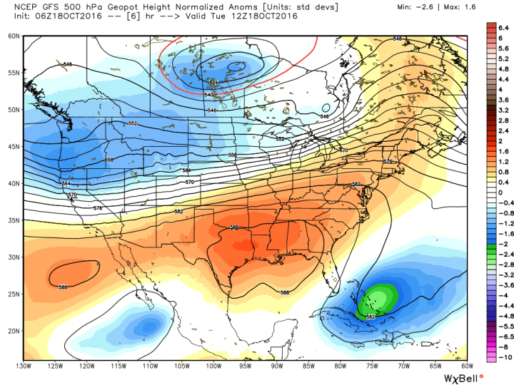 Houston will remain under an early September-like ridge of high pressure for one more day. (Weather Bell)