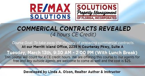 Commercial Contracts Revealed Thrive CE Course Space Coast Event