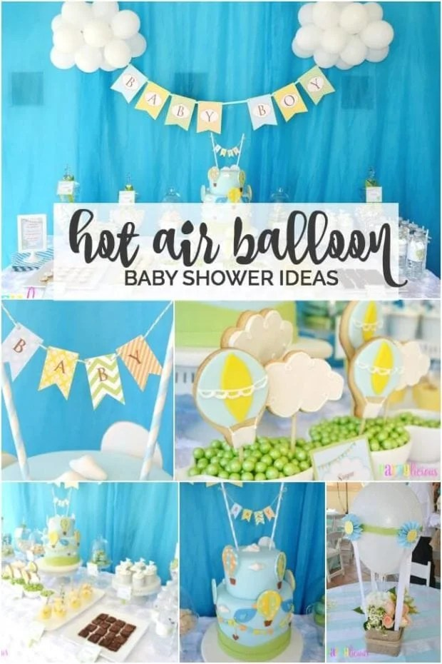 Boy\u0027s Hot Air Balloon Party Theme Spaceships and Laser Beams - blue and green birthday party