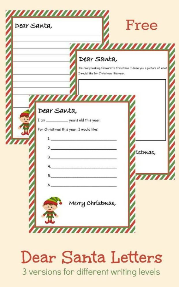 20 Free Printable Letters to Santa Templates - Spaceships and Laser