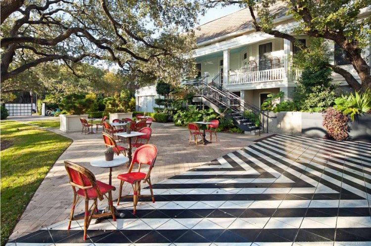 Sprawling outdoor patio of Hotel Saint Cecilia Austin Texas