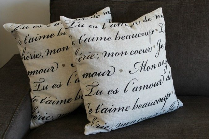 L'Amour Stenciled Throw Pillows