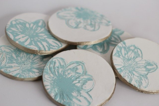 Imprinted Clay Coasters