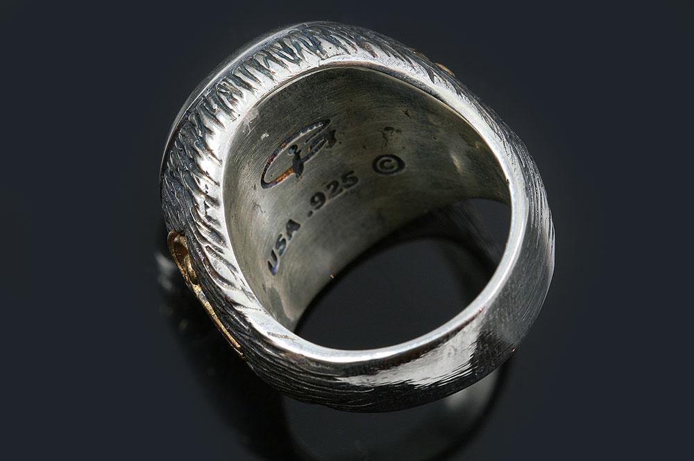 Giani Inspirations Roger Pirate Skull Bones Stingray Skin Red Ruby Silver Ring Ur 153