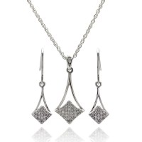 Sterling Silver Micro Pave CZ Dangling Earring and ...