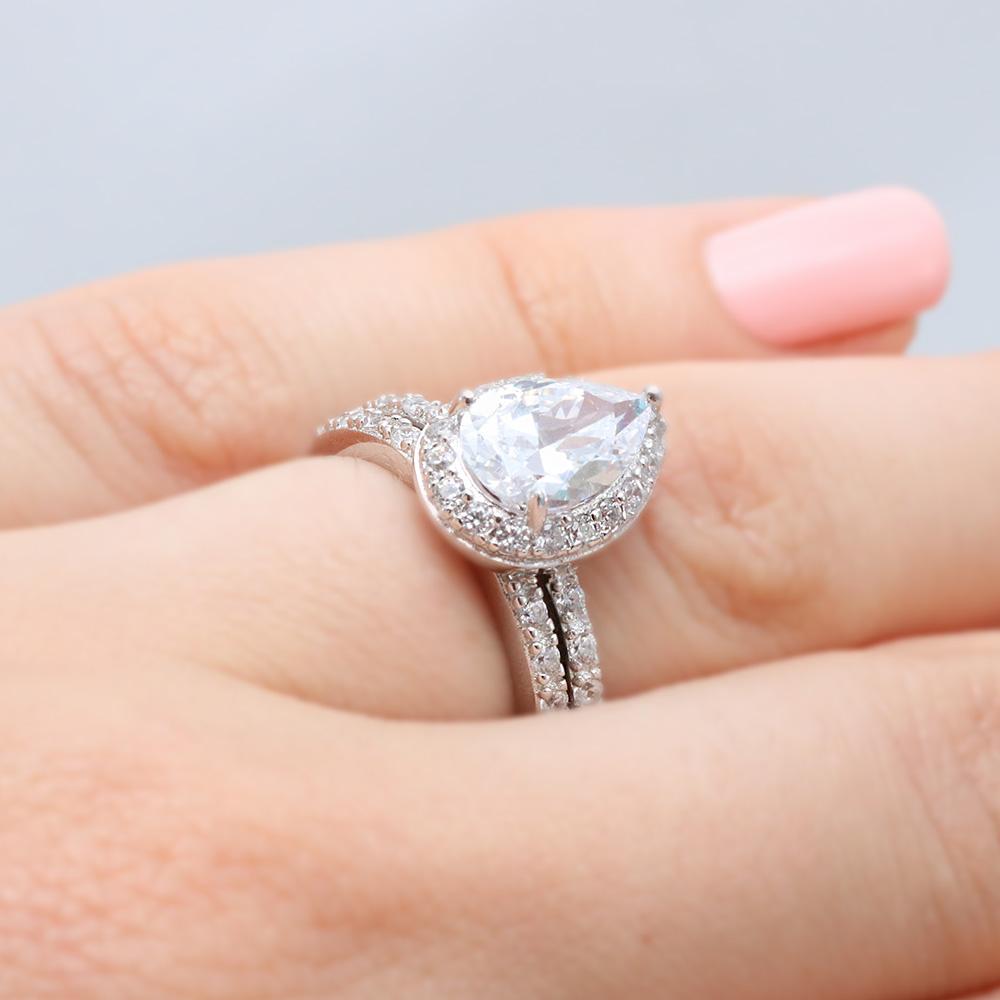 Brilliant Silver Pear Shaped Cz Engagement Ring Set Sbgr00530 3 Wedding Ring Sets Etsy Wedding Ring Sets Zales wedding rings Wedding Ring Sets