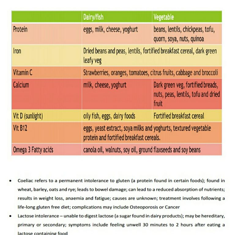 Chart of Food Options for Protein, Iron, Vit C, Calcium, Vit D