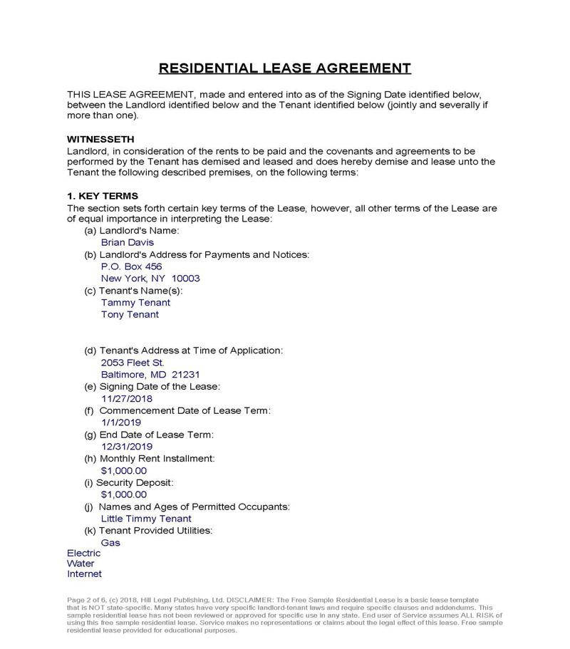 Free Lease Agreement SparkRental