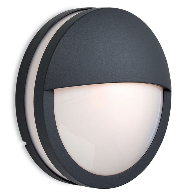 Outdoor Recessed Wall Light Fixtures 8356gp - Ip54 Zenith Round Eyelid Bulkhead In Graphite