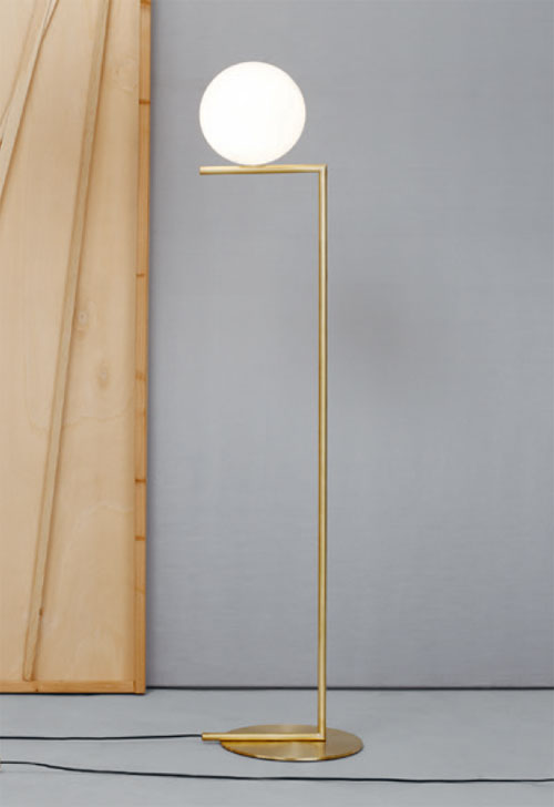 E27 Led 100w Fz605 - Flos Ic F1 Brass Floor Light Small With 20cm Opal