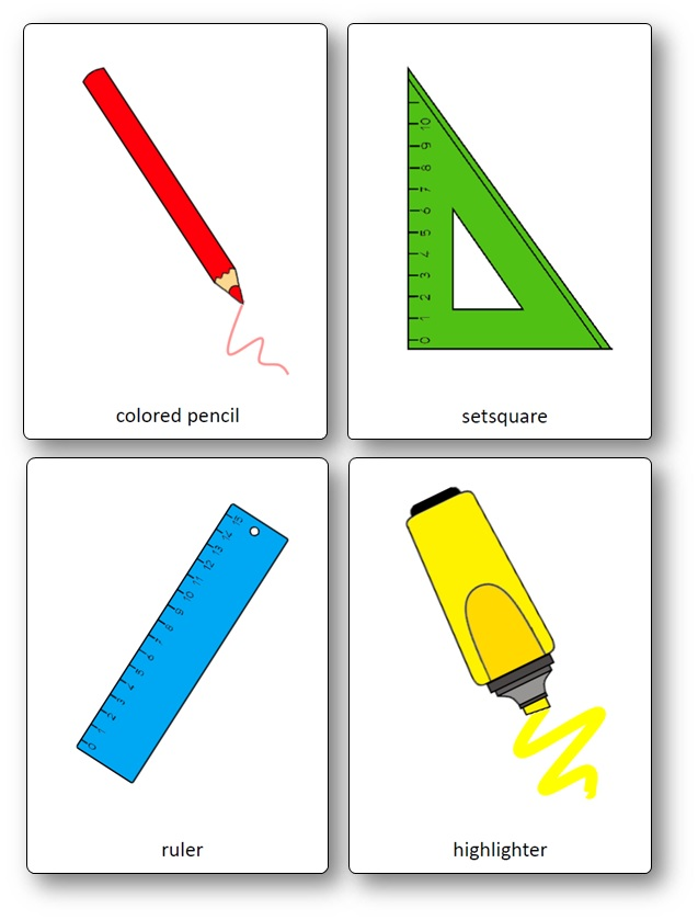 Classroom Objects Flashcards - Free Printable Flashcards - Speak and