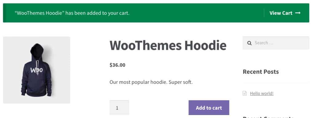 WooCommerce Added to Cart Notice